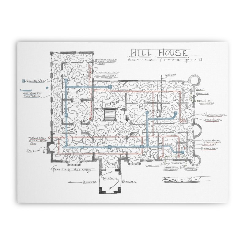 Hill House Blueprint Home Stretched Canvas by World Famous Design Junkies