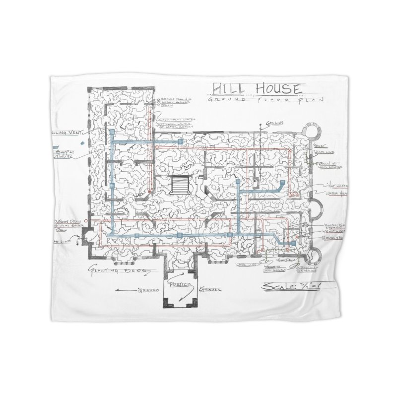 Hill House Blueprint Home Blanket by World Famous Design Junkies