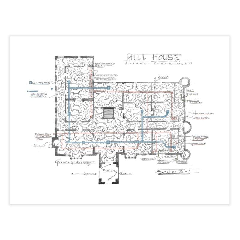 Hill House Blueprint Home Fine Art Print by World Famous Design Junkies