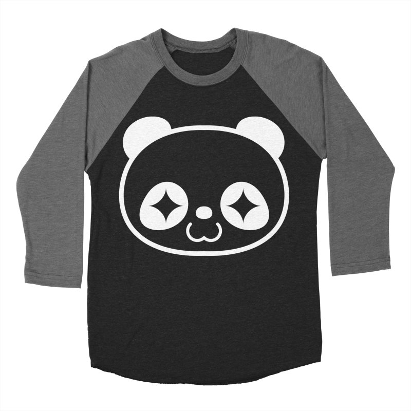 PANDA HEAD white Women's Baseball Triblend T-Shirt by WHADDUPANDA BODEGA