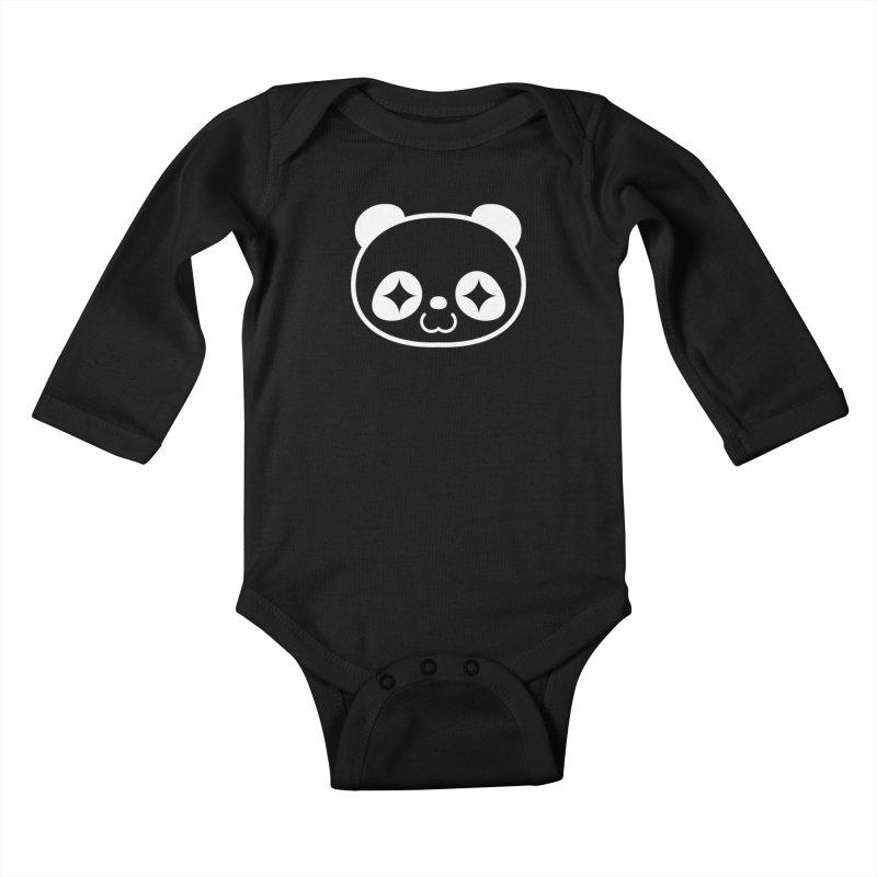 PANDA HEAD white Kids Baby Longsleeve Bodysuit by WHADDUPANDA BODEGA