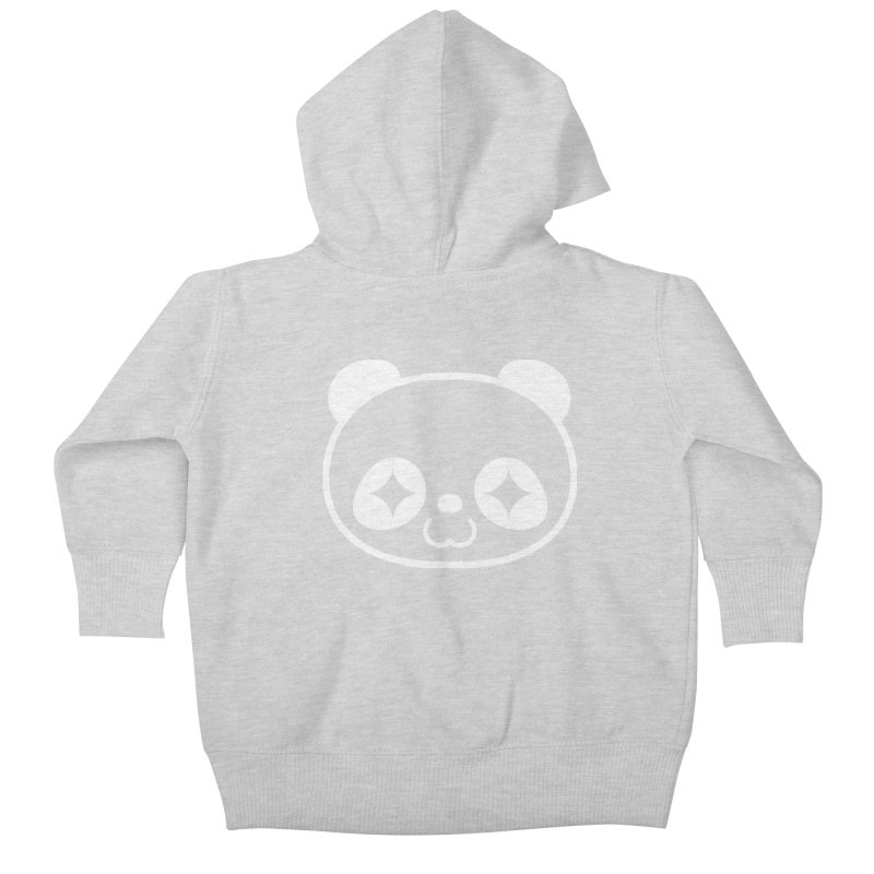 PANDA HEAD white Kids Baby Zip-Up Hoody by WHADDUPANDA BODEGA