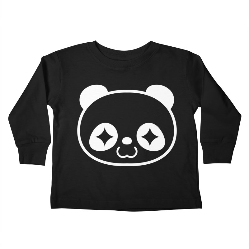 PANDA HEAD white Kids Toddler Longsleeve T-Shirt by WHADDUPANDA BODEGA