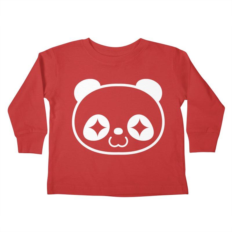 PANDA HEAD white Kids Toddler Longsleeve T-Shirt by WHADDUPANDA BODEGA