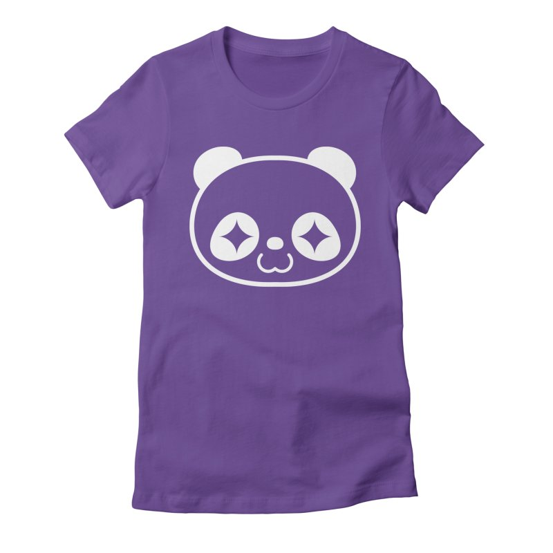 PANDA HEAD white Women's Fitted T-Shirt by WHADDUPANDA BODEGA