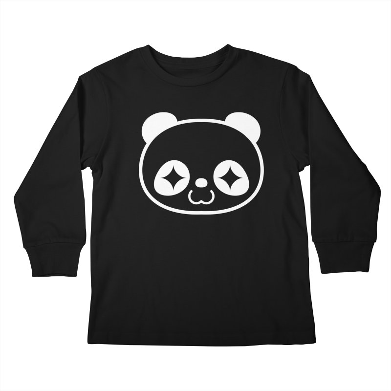PANDA HEAD white Kids Longsleeve T-Shirt by WHADDUPANDA BODEGA
