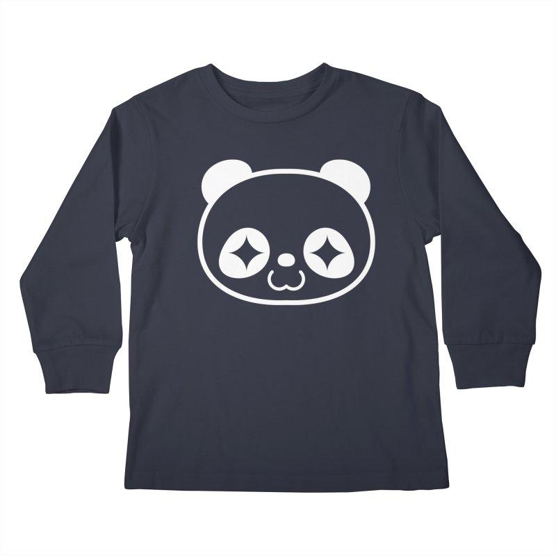 PANDA HEAD white Kids Longsleeve T-Shirt by WHADDUPANDA BODEGA