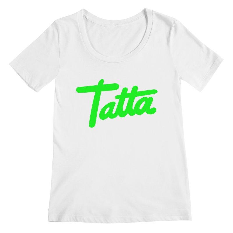 Tatta neon green Women's Scoopneck by WHADDUPANDA BODEGA