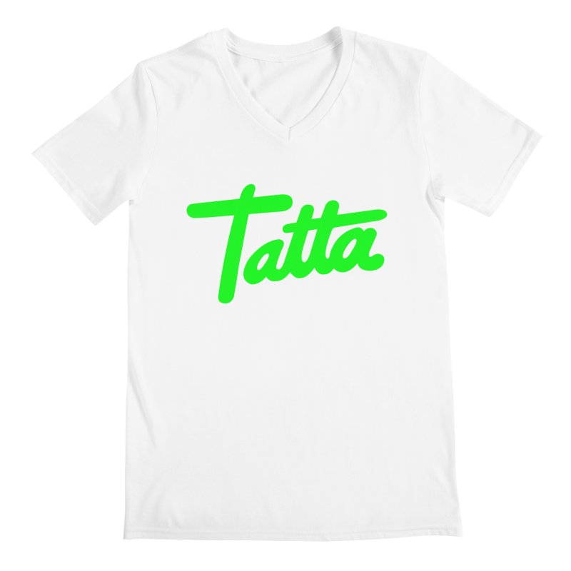 Tatta neon green Men's V-Neck by WHADDUPANDA BODEGA