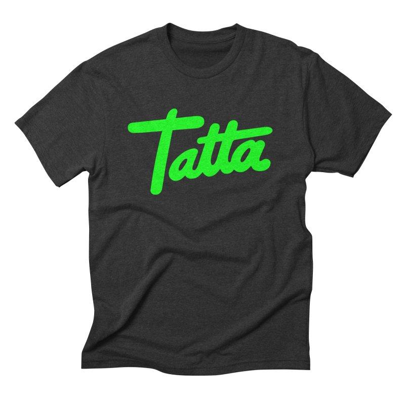 Tatta neon green Men's Triblend T-shirt by WHADDUPANDA BODEGA