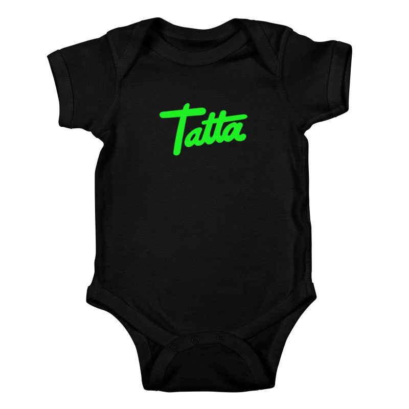 Tatta neon green Kids Baby Bodysuit by WHADDUPANDA BODEGA