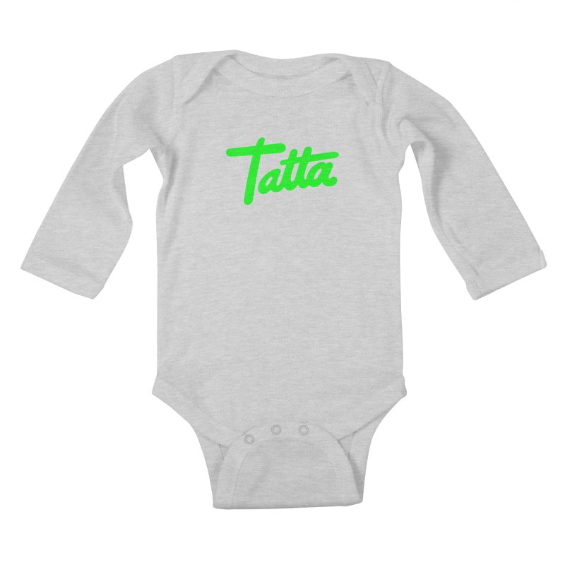 Tatta neon green Kids Baby Longsleeve Bodysuit by WHADDUPANDA BODEGA