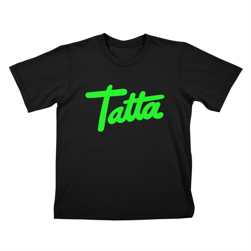 Tatta neon green Kids T-Shirt by WHADDUPANDA BODEGA
