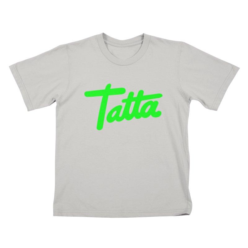 Tatta neon green Kids T-shirt by WHADDUPANDA BODEGA