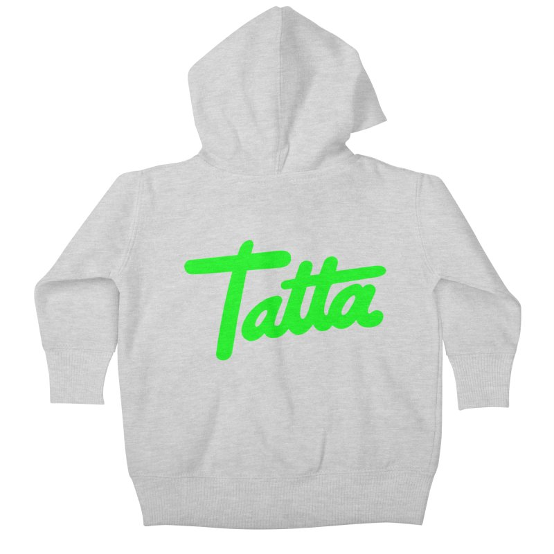 Tatta neon green Kids Baby Zip-Up Hoody by WHADDUPANDA BODEGA