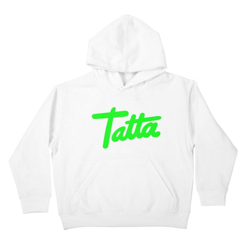 Tatta neon green Kids Pullover Hoody by WHADDUPANDA BODEGA