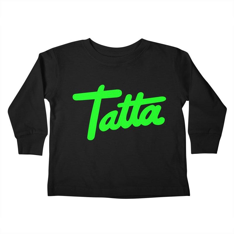 Tatta neon green Kids Toddler Longsleeve T-Shirt by WHADDUPANDA BODEGA