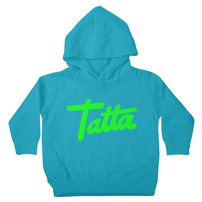 Tatta neon green Kids Toddler Pullover Hoody by WHADDUPANDA BODEGA
