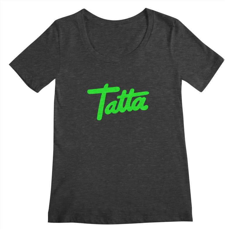 Tatta neon green Women's Scoopneck by WHADDUPANDA BODEGA