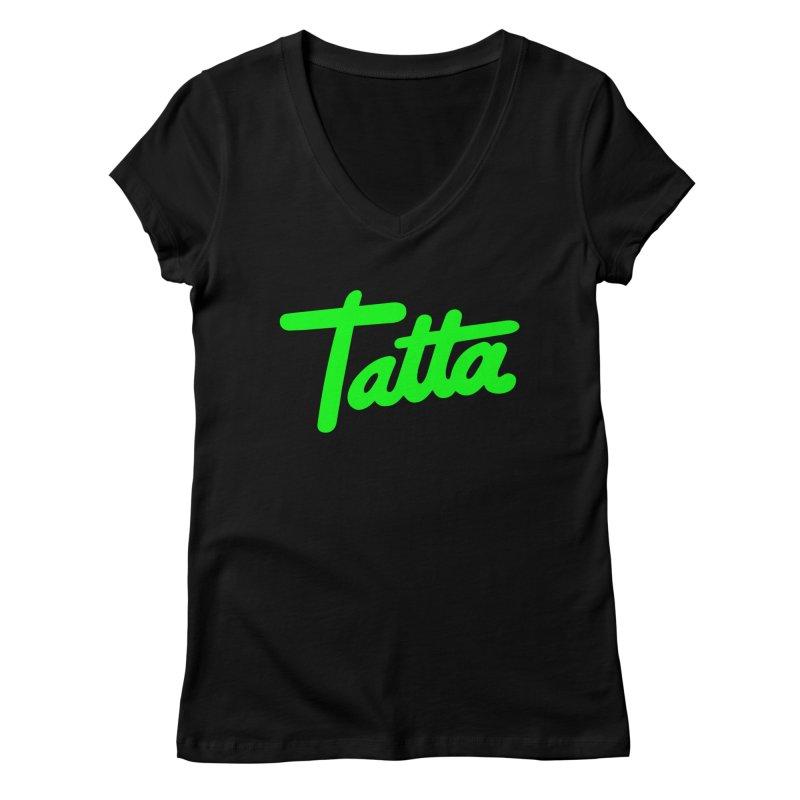 Tatta neon green Women's V-Neck by WHADDUPANDA BODEGA