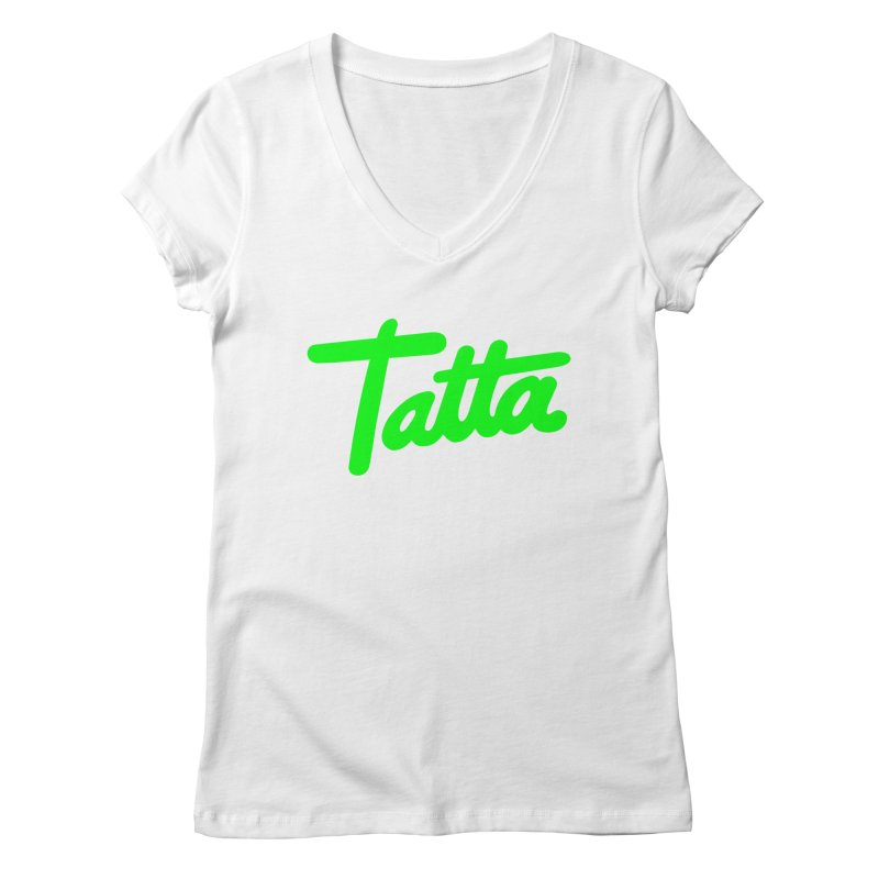 Tatta neon green Women's V-Neck by WHADDUPANDA BODEGA