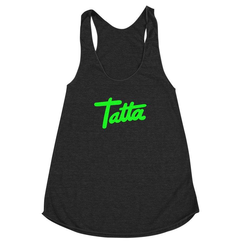 Tatta neon green Women's Racerback Triblend Tank by WHADDUPANDA BODEGA