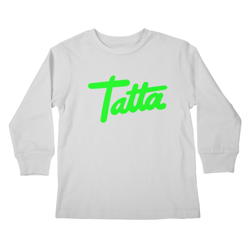 Tatta neon green Kids Longsleeve T-Shirt by WHADDUPANDA BODEGA