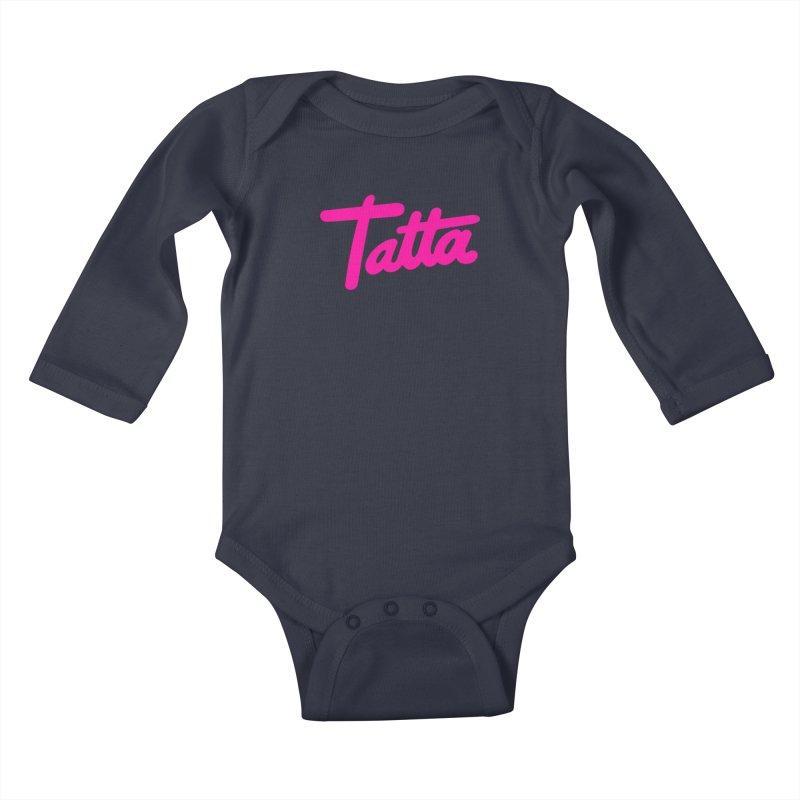 Tatta pink Kids Baby Longsleeve Bodysuit by WHADDUPANDA BODEGA