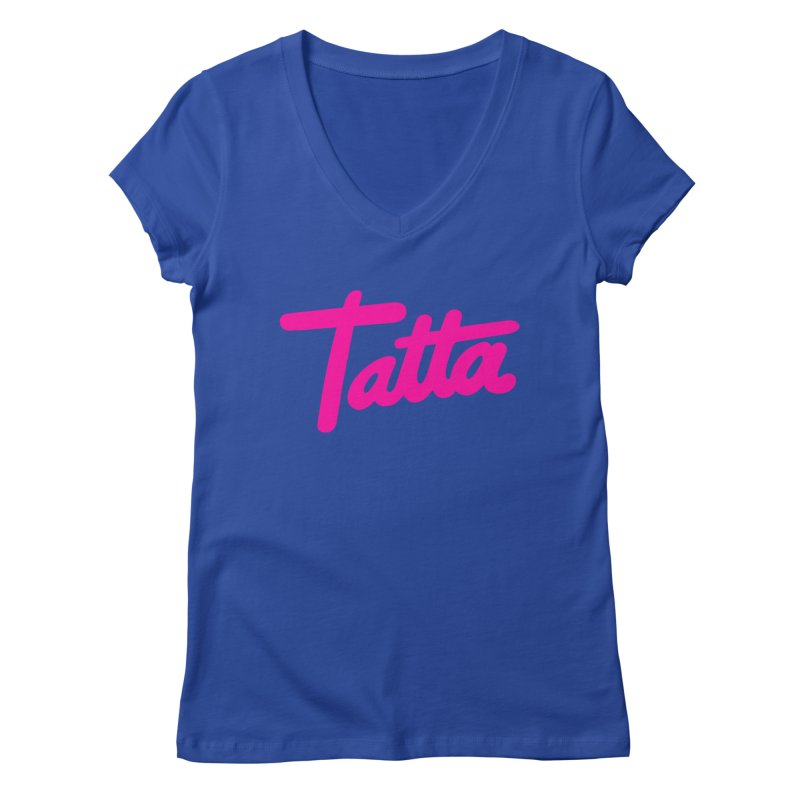 Tatta pink Women's V-Neck by WHADDUPANDA BODEGA