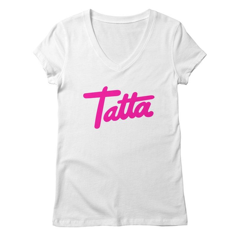 Tatta pink Women's V-Neck by WHADDUPANDA BODEGA