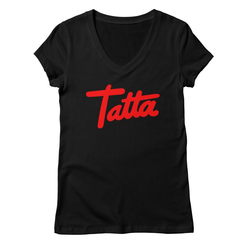 Tatta red Women's V-Neck by WHADDUPANDA BODEGA