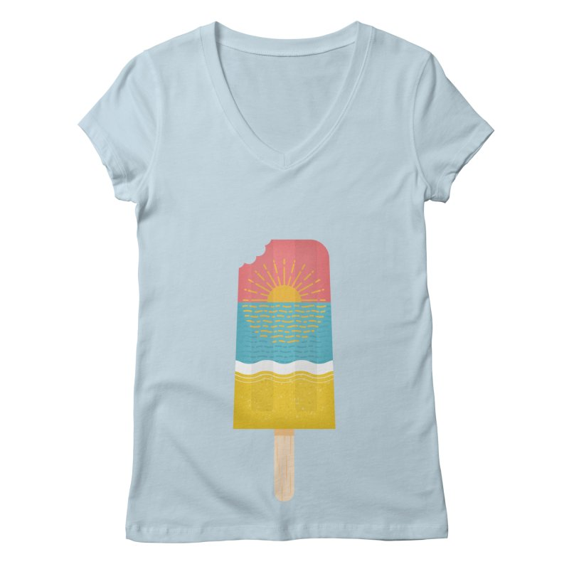 Popsicle Sunset Women's Regular V-Neck by wharton's Artist Shop