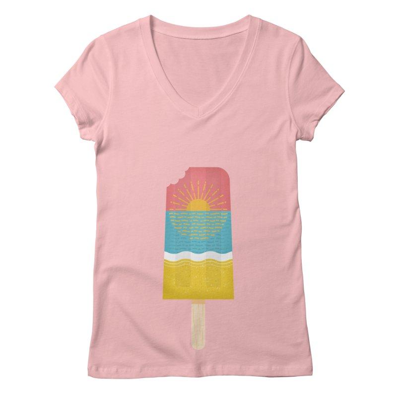 Popsicle Sunset Women's V-Neck by wharton's Artist Shop