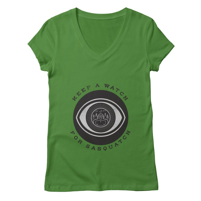 Keep a watch for sasquatch Women's Regular V-Neck by wharton's Artist Shop