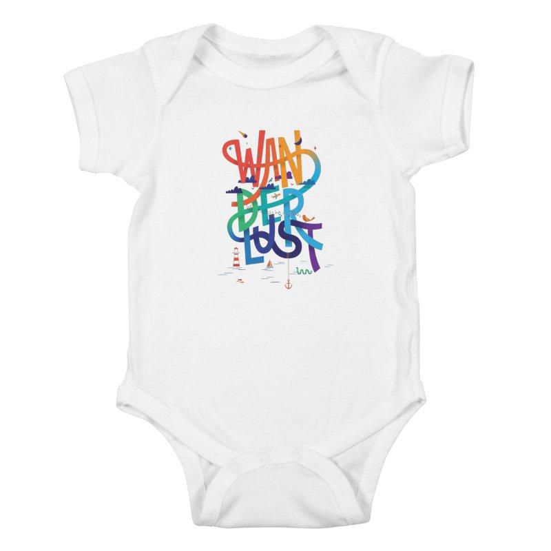 Wanderlust Kids Baby Bodysuit by wharton's Artist Shop