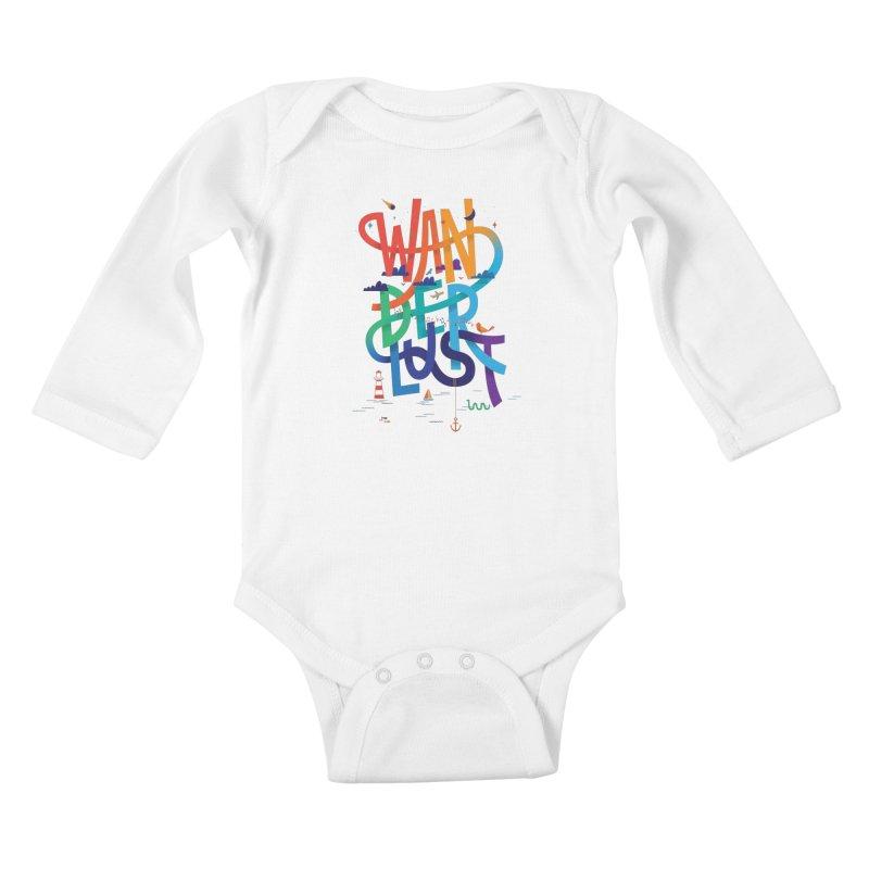Wanderlust Kids Baby Longsleeve Bodysuit by wharton's Artist Shop