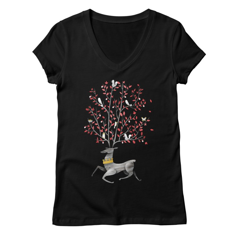 King of the Forest Women's V-Neck by wharton's Artist Shop