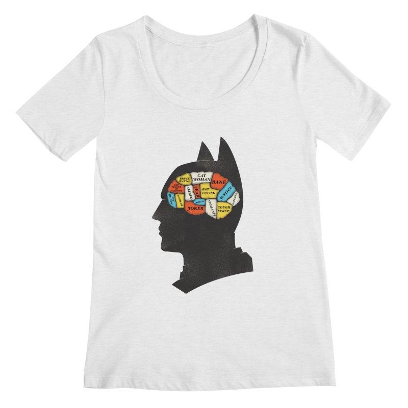 Batman Phrenology Women's Scoopneck by wharton's Artist Shop