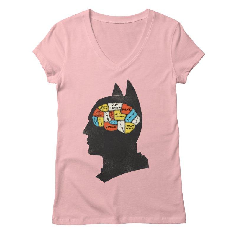 Batman Phrenology Women's V-Neck by wharton's Artist Shop