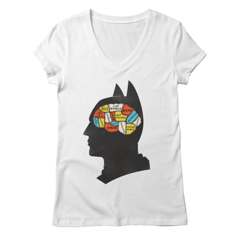 Batman Phrenology Women's Regular V-Neck by wharton's Artist Shop