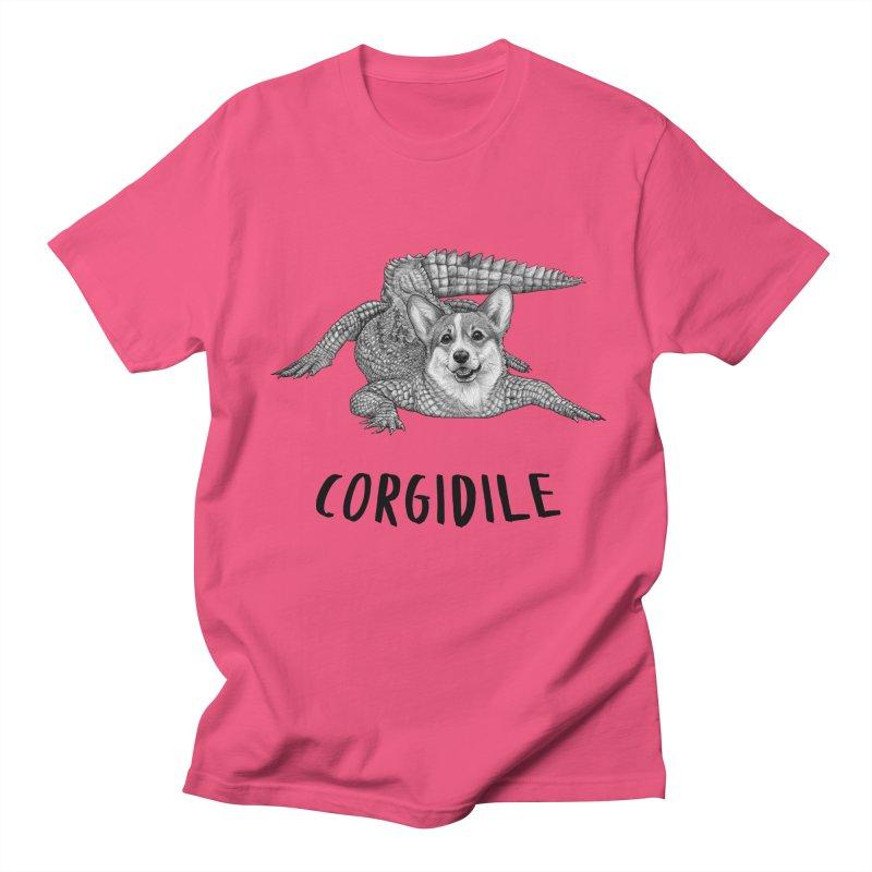 Corgidile | Corgi + Crocodile Hybrid Animal Men's T-Shirt by Whatif Creations | Shop Hybrid Animals!