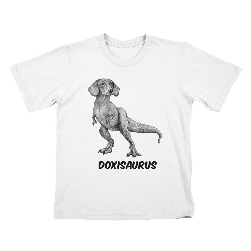 Doxisaurus   Dachshund + Tyrannosaurus Rex Hybrid Animal Kids T-Shirt by Whatif Creations   Shop Hybrid Animals!