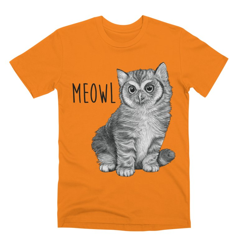 Meowl | Cat + Owl Hybrid Animal Men's T-Shirt by Whatif Creations | Shop Hybrid Animals!