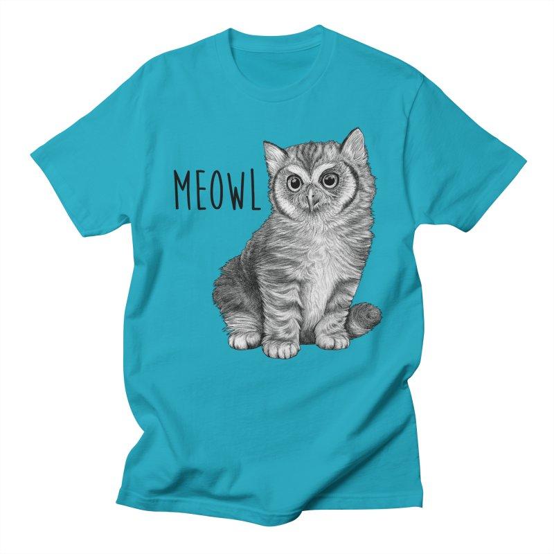 Meowl   Cat + Owl Hybrid Animal Men's T-Shirt by Whatif Creations   Shop Hybrid Animals!