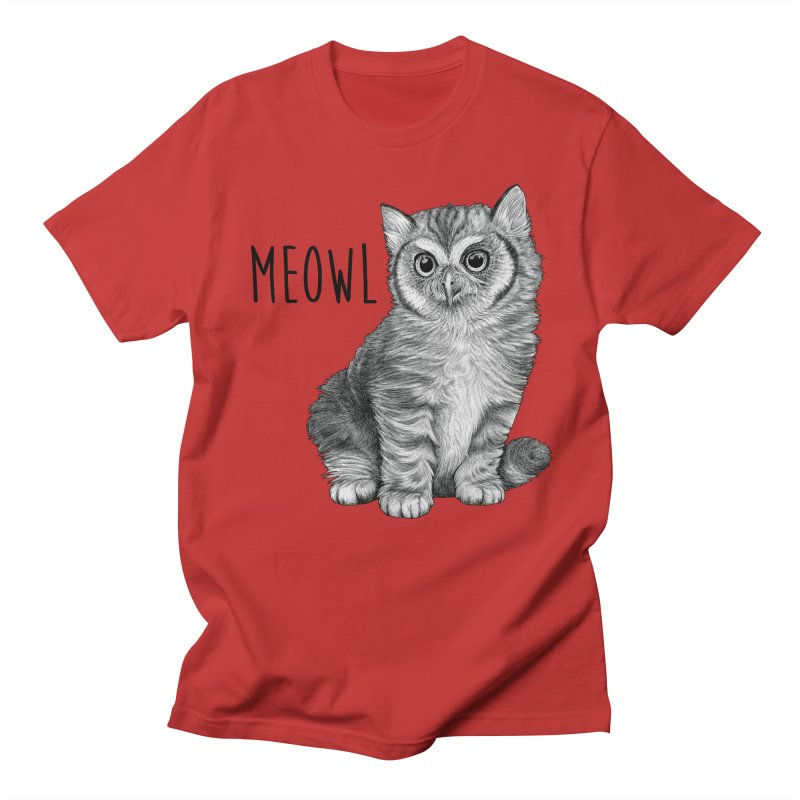 Meowl | Cat + Owl Hybrid Animal Men's T-Shirt by Whatif Creations | Shop Hybrid Animals!