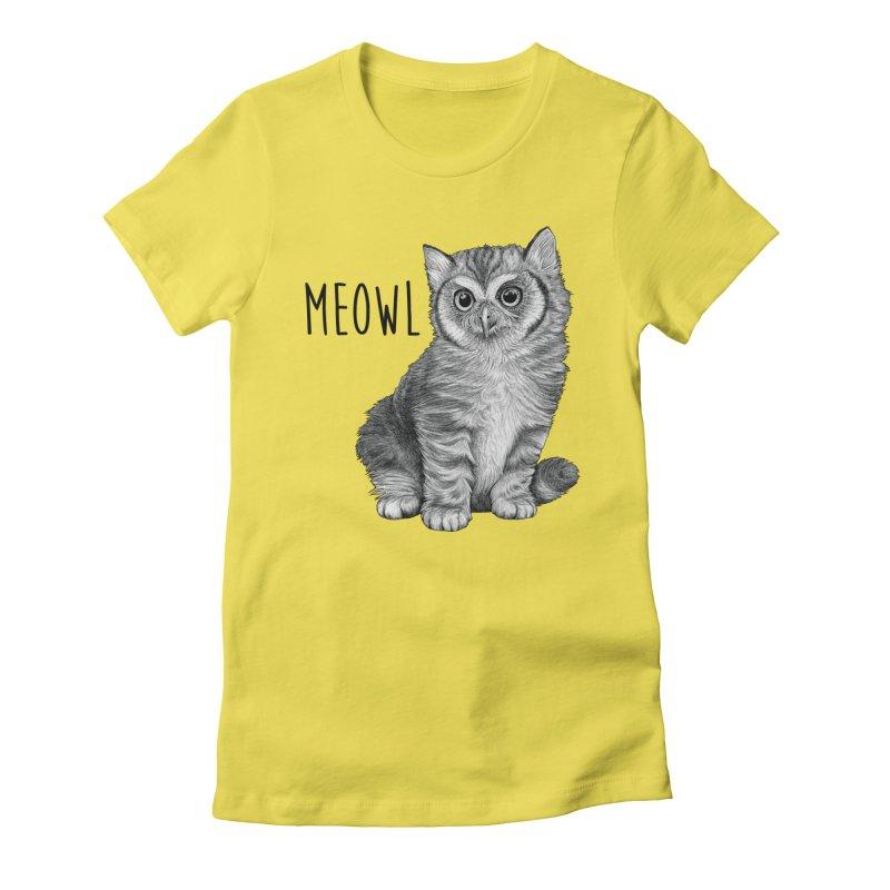 Meowl | Cat + Owl Hybrid Animal Women's T-Shirt by Whatif Creations | Shop Hybrid Animals!