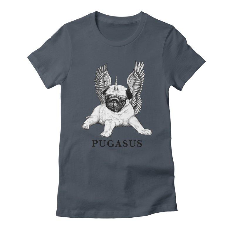 Pugasus | Pug + Pegasus Hybrid Animal Women's T-Shirt by Whatif Creations | Shop Hybrid Animals!