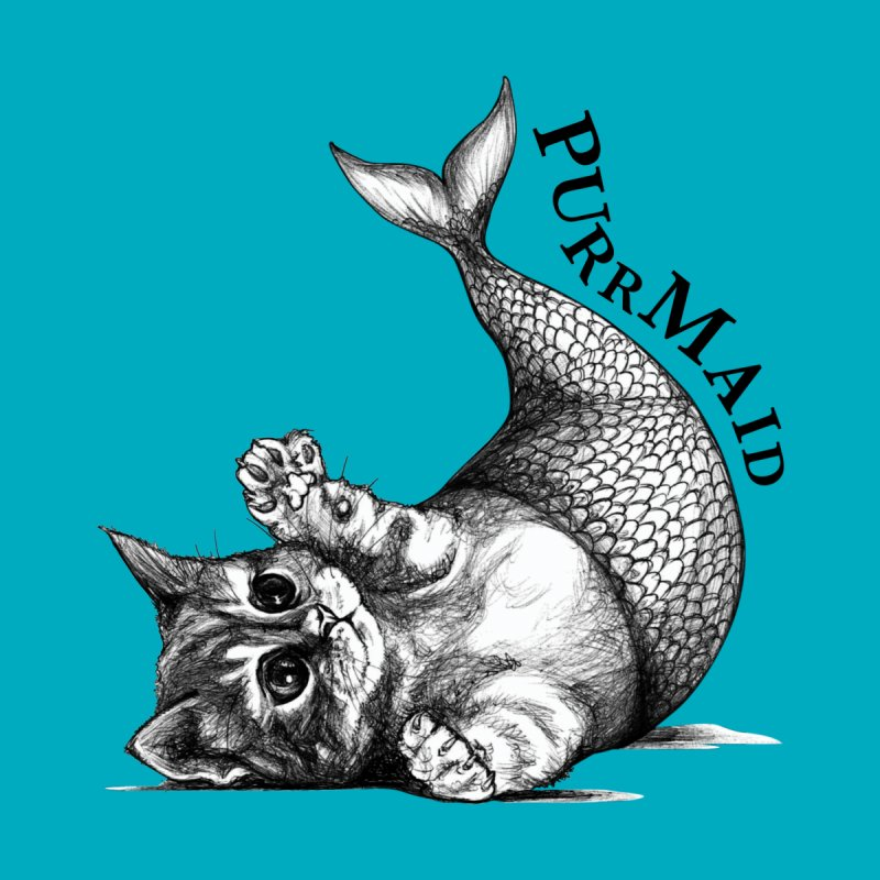 Purrmaid | Cat + Mermaid Hybrid Animal Men's T-Shirt by Whatif Creations | Shop Hybrid Animals!