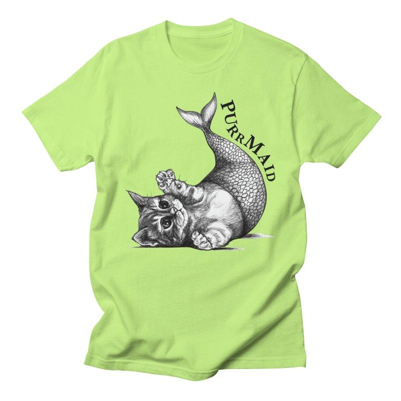Purrmaid | Cat + Mermaid Hybrid Animal Men's T-Shirt by Whatif Creations | Shop Hybrid Animals!