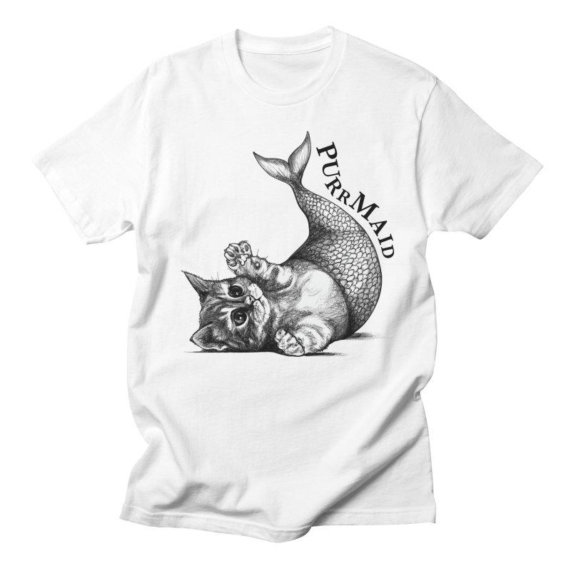Purrmaid   Cat + Mermaid Hybrid Animal Men's T-Shirt by Whatif Creations   Shop Hybrid Animals!